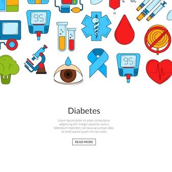 Bannière d'icônes de diabète de couleur