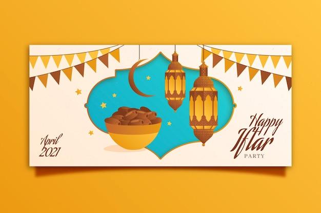 Bannière iftar dessinée à la main