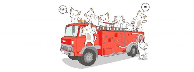 Bannière D'illustration Chat Pompier Vecteur Premium