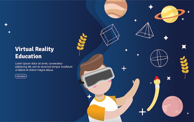 Bannière illustration de concept d'éducation à la réalité virtuelle