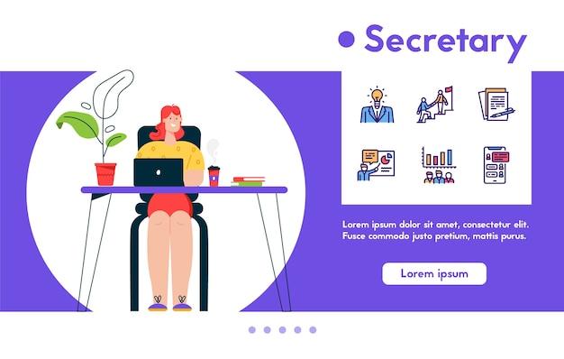 Bannière illustration de femme secrétaire travaillant sur ordinateur portable au bureau. l'employé effectue des tâches de travail. jeu d'icônes linéaire couleur - idée d'entreprise, stratégie, gestion financière, rapports, communication
