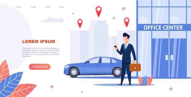 Bannière illustration location de voiture au centre de bureau