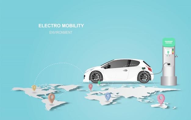 Bannière d'illustration avec station de charge pour voiture électrique.