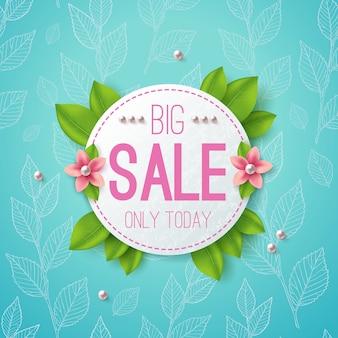 Bannière d'illustration vectorielle grande vente. étiquette de cercle avec des feuilles, des fleurs et des perles.