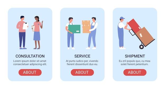 Bannière d'illustration vectorielle de travailleurs d'entrepôt sertie de gens de personnel homme femme travaillant dans une entreprise d'entreposage, chargement de boîtes dans l'entrepôt