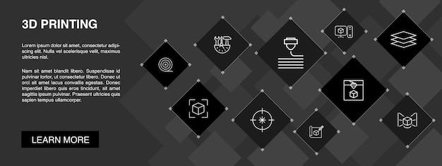 Bannière d'impression 3d 10 icônes concept.imprimante 3d, filament, prototypage, icônes simples de préparation de modèle