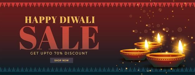 Bannière indienne de vente de diwali heureux avec diya pétillant