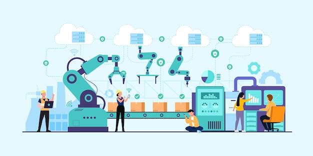 Bannière de l'industrie 4.0 avec programmeur ou travailleur humain et bras robotique.