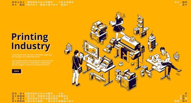Bannière de l'industrie de l'impression. entreprise de typographie, service de polygraphie.