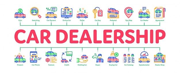 Bannière infographique minimale de magasin de concessionnaire automobile