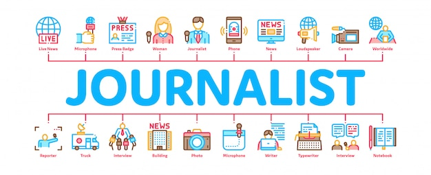 Bannière infographique minimaliste journaliste journaliste