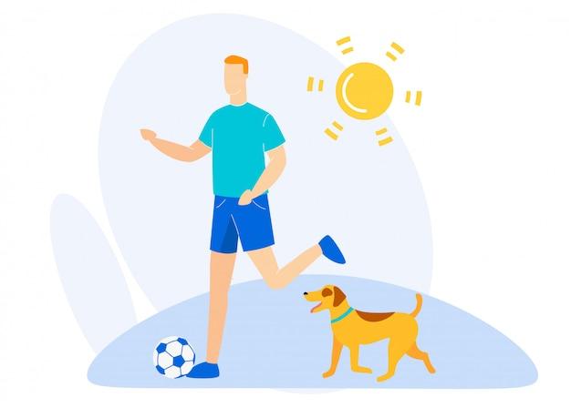 Bannière d'information pique-nique d'été avec chien plat.
