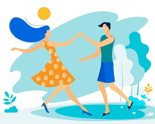 Bannière informationnelle danse couple amoureux plat.