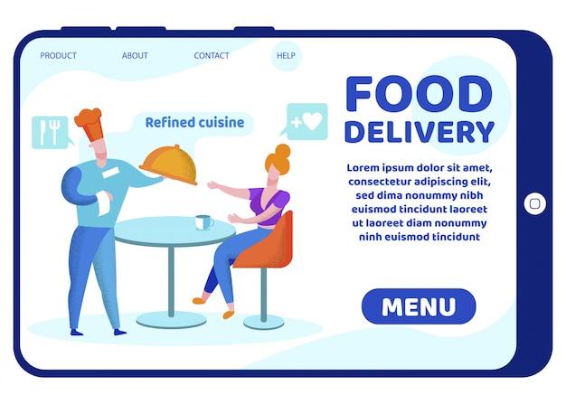 Bannière informative inscription livraison de nourriture.