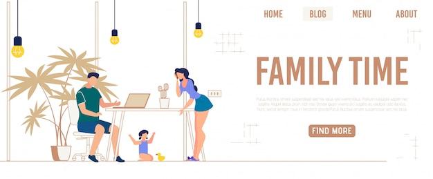 Bannière informative temps écrit en famille, dessin animé.