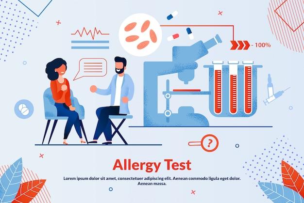 Bannière informative de test d'allergie lettrage à plat.