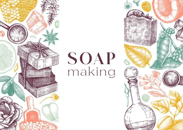 Bannière d'ingrédients de fabrication de savon en couleur matériaux aromatiques esquissés à la main pour le savon