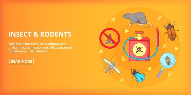 Bannière insectes de rongeurs horizontaux, style cartoon