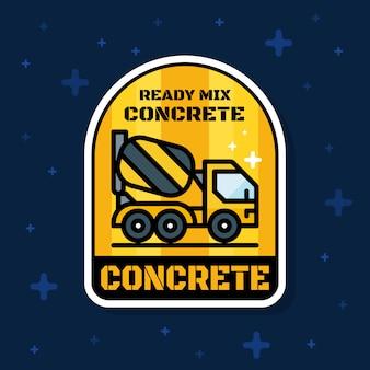 Bannière d'insigne de camion de chargeur de béton prêt à l'emploi