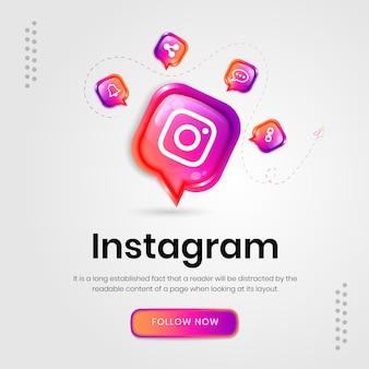 Bannière instagram d'icônes de médias sociaux