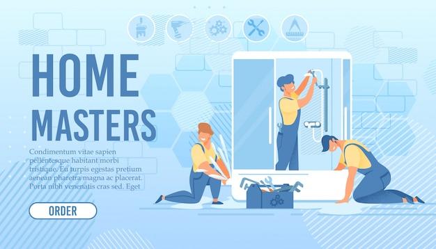 Bannière d'installation et de réparation de cabine de douche