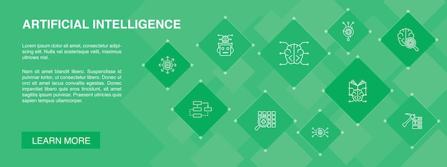 Bannière d'intelligence artificielle 10 icônes algorithme apprentissage profond icônes simples de réseau de neurones