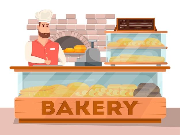 Bannière intérieure de magasin de boulangerie en style cartoon
