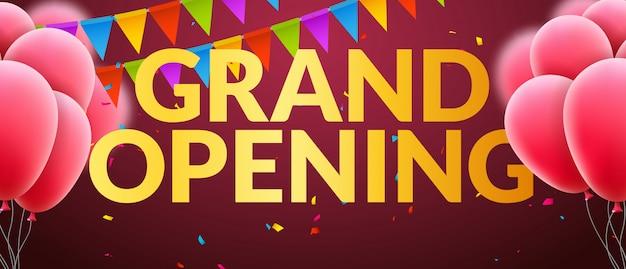 Bannière d'invitation à l'événement d'ouverture avec des ballons et des confettis. conception de modèle d'affiche de grande ouverture de mots d'or