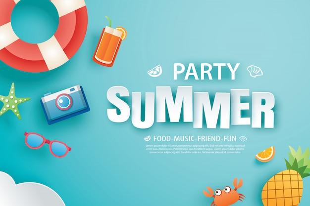 Bannière d'invitation fête estivale avec origami de décoration