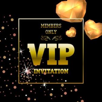 Bannière d'invitation vip réservée aux membres avec éclairage des coeurs