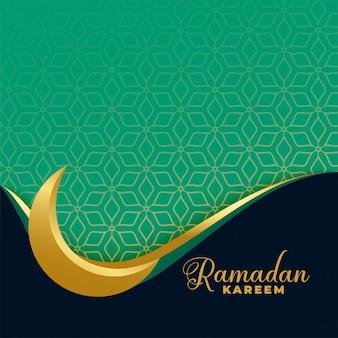 Bannière islamique ramadan karéem lune dorée