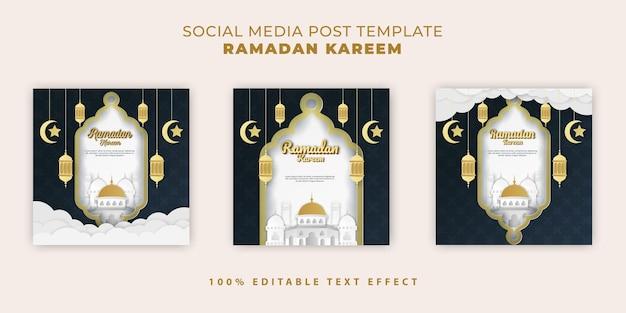 Bannière islamique ramadan kareem avec style de papier découpé bleu foncé or