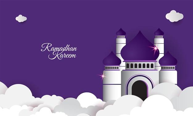 Bannière islamique ramadan kareem avec style papier