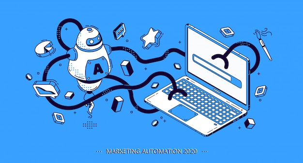 Bannière isométrique d'automatisation du marketing 2020, seo