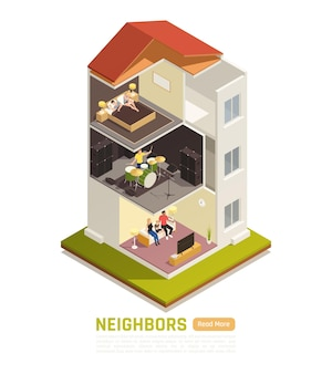 Bannière isométrique avec bâtiment avec voisins