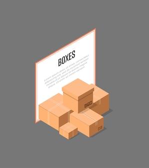 Bannière isométrique de boîtes de livraison en carton
