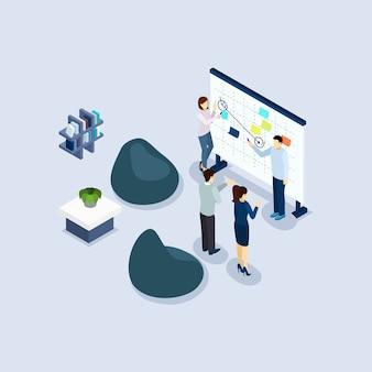 Bannière isométrique de bureau environnement environnement de coworking