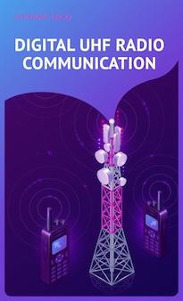 Bannière isométrique de communication radio uhf numérique