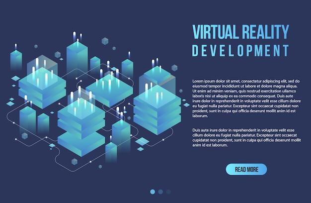 Bannière isométrique de concept de réalité augmentée. modèle de conception plate pour application mobile et site web. illustration isométrique de réalité virtuelle.