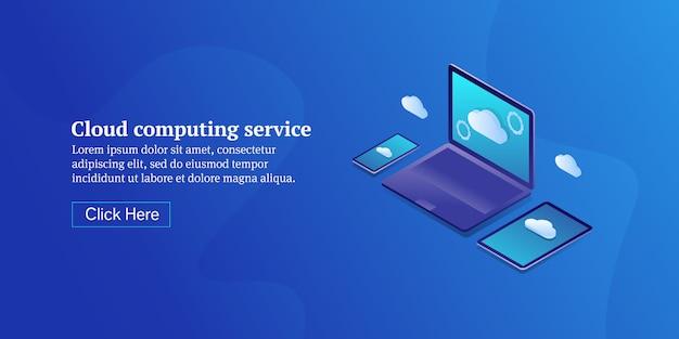 Bannière isométrique conceptuelle du service de cloud computing