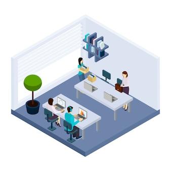 Bannière isométrique coworking people environment office