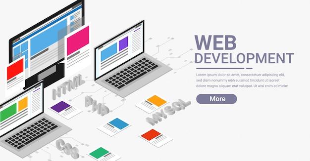 Bannière isométrique de développement web