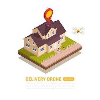 Bannière isométrique de drones quadricoptères