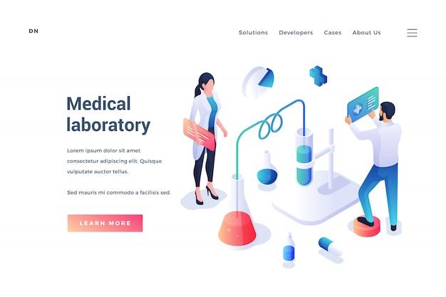 Bannière isométrique du site web pour le service de laboratoire médical
