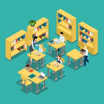 Bannière isométrique education middle school classroom