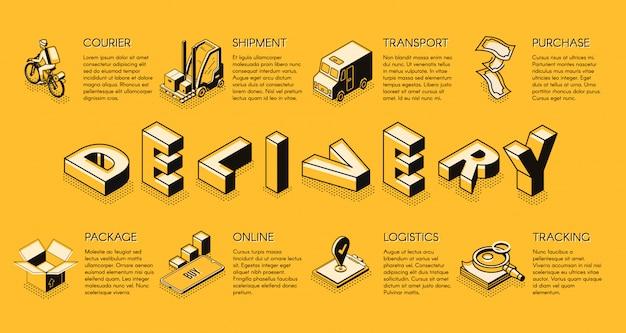 Bannière isométrique d'entreprise de livraison ou de logistique