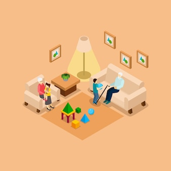Bannière isométrique de grands-parents avec enfants à la maison