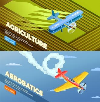 Bannière isométrique d'hélicoptères d'avions avec bouton en savoir plus et images d'agriculture