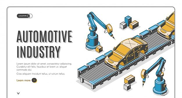 Bannière isométrique de l'industrie automobile