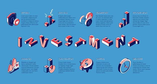 Bannière isométrique d'investissement, service de fonds d'investissement